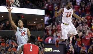 AT LEFT: Virginia guard Malcolm Brogdon (15) shoots over Davidson forward Nathan Ekwu (1) during the second half of an NCAA college basketball game Tuesday, Dec. 30, 2014, in Charlottesville, Va. Virginia defeated Davidson 83-72. (AP Photo/Andrew Shurtleff). AT RIGHT: Maryland guard/forward Dez Wells reacts after making the go-ahead shot in the final moments of an NCAA college basketball game against Northwestern, Sunday, Jan. 25, 2015, in College Park, Md. Maryland won 68-67. (AP Photo/Patrick Semansky)