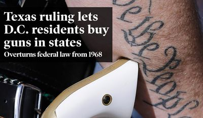 National Edition News cover for February 12, 2015 - Federal court rules residency requirements for pistol purchases unconstitutional: Scott Smith, a supporter of open carry gun laws, wears a pistol as he prepares for a rally at the Capitol, Monday, Jan. 26, 2015, in Austin, Texas. (AP Photo/Eric Gay)