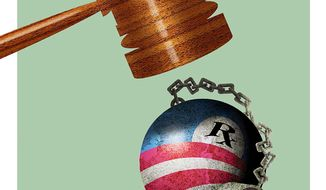 Illustration on legal flaws in Obamacare by Alexander Hunter/The Washington Times