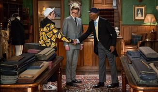 "Taron Egerton (left) Colin Firth (center) and Samuel L. Jackson star in Matthew Vaughn's funny and first-rate spy thriller ""Kingsman: The Secret Service."" (Associated Press)"