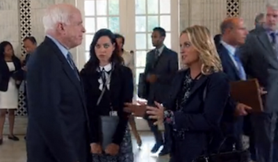 "Several Republican and Democratic senators appeared on Tuesday night's episode of the popular NBC sitcom ""Parks and Recreation,"" including Orrin Hatch, John McCain and Barbara Boxer. (NBC)"