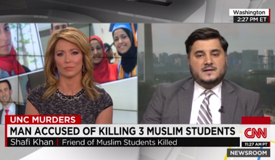 """Shafi Khan, a self-described friend of the Muslim students shot dead Tuesday in North Carolina, specifically blamed Fox News, Louisiana Gov. Bobby Jindal and Oklahoma state Rep. John Bennett for what he called the """"dehumanization of Muslims."""" (CNN)"""