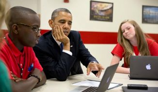 President Obama visits Mooresville Middle School in North Carolina. (Official White House Photo/File)