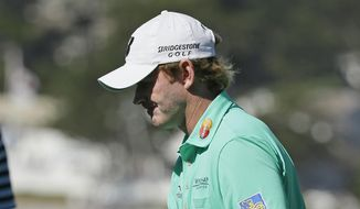 Brandt Snedeker reacts after making a birdie on the fifth green of the Pebble Beach Golf Links during the final round of the AT&T Pebble Beach National Pro-Am golf tournament Sunday, Feb. 15, 2015, in Pebble Beach, Calif. (AP Photo/Eric Risberg)