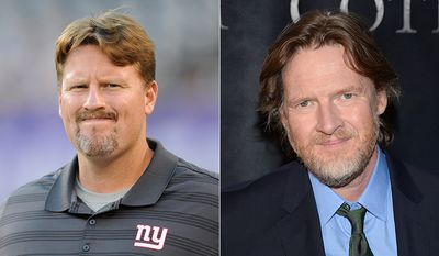 New York Giants offensive coordinator Ben McAdoo and Actor Donal Logue. AP photos