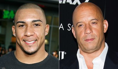 NFL tightend Kellen Winslow Jr. (left) and actor Vin Diesel.