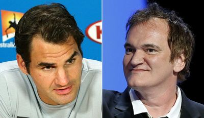Tennis great Roger Federer (left) and director Quentin Tarantino.