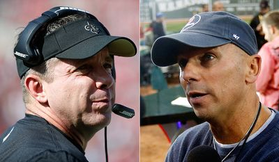 New Orleans Saints head coach Sean Payton and Country music singer Kenny Chesney. AP photos