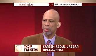 "Former NBA star Kareem Abdul-Jabbar said Monday that the Islamic State group represents Islam about as much as the Ku Klu Klan represents Christianity, arguing that the mission of both groups is not about religion but ""a play for money and power."" (MSNBC via Breitbart)"