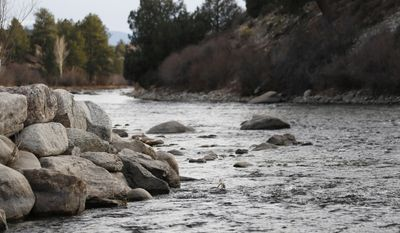 Arkansas River flows through the proposed national monument in Browns Canyon north of the town of Salida, Colo., in the state's southwestern mountains on Dec. 6, 2014. (Associated Press) **FILE**