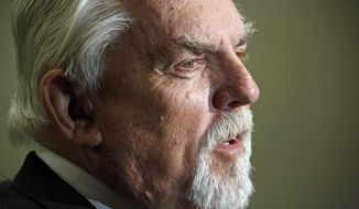 John Ratzenberger, an Emmy-nominated actor and entrepreneur, speaks to reporters following his address to attendees of Mississippi Gov. Phil Bryant's annual Energy Summit in Jackson, Miss., on Oct. 8, 2014. (Associated Press) **FILE**