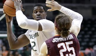 Miami forward Joe Thomas (2) looks for an open teammate past Virginia Tech guard Will Johnston (25) during the first half of an NCAA college basketball game, Wednesday, Feb. 18, 2015, in Coral Gables, Fla. (AP Photo/Wilfredo Lee),