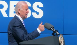 Vice President Joe Biden addresses a crowd on the docks at the South Carolina Ports Authority terminal in Mount Pleasant, S.C., on Wednesday, Feb. 18, 2015. The vice president was joining U.S. Transportation Secretary Anthony Foxx on three stops of a five-state tour to promote an administration proposal to spend almost $500 billion over six years on the nation's infrastructure. (AP Photo/Bruce Smith)