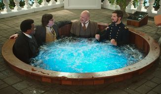 "Clark Duke (second from left) starred with Craig Robinson), Rob Corddry and Adam Scott in ""Hot Tub Time Machine 2."" (AP)"