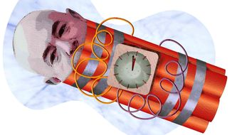 Mayorkas Time Bomb Illustration by Greg Groesch/The Washington Times