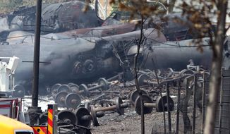 This July 8, 2013, file photo provided by Surete du Quebec, shows debris from a runaway train in Lac-Megantic, Quebec, Canada. (AP Photo/Surete du Quebec, The Canadian Press, File)