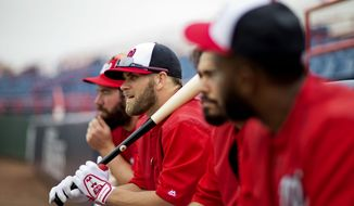 Washington Nationals' Bryce Harper, second from left, waits to take batting practice during a spring training baseball workout, Wednesday, Feb. 25, 2015, in Viera, Fla. (AP Photo/David Goldman)