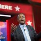 Dr. Ben Carson delivers his speech on the second day of the 2015 Conservative Political Action Conference (CPAC) at the Gaylord National Resort and Convention Center in National Harbor, Md., Thursday, February 26, 2015. This event, which is billed as the nation's largest gathering of conservatives, runs February 25-28, 2015.(Photo by Rod Lamkey Jr. for The Washington Times)