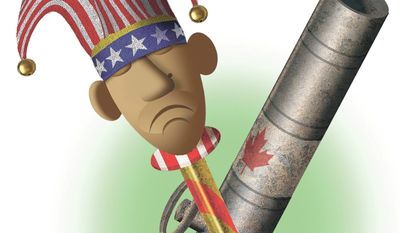 Illustration on Obama's veto of the Keystone pipeline by Alexander Hunter/The Washington Times