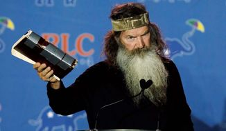 """Duck Dynasty"""" patriarch Phil Robertson will receive the """"Andrew Breitbart Defender of the First Amendment Award"""" at the Conservative Political Action Conference Friday. (Associated Press photographs)"""
