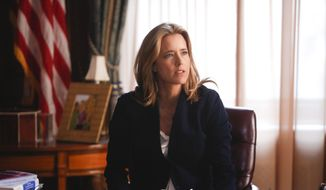 """This image released by CBS shows Tea Leoni as Elizabeth McCord, the shrewd, determined, newly appointed Secretary of State in """"Madam Secretary,"""" airing Sundays at 8 p.m. EST. (AP Photo/CBS, Craig Blankenhorn)"""