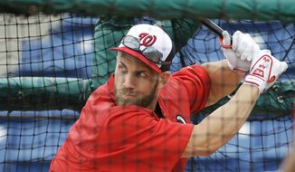 Washington Nationals' Bryce Harper takes batting practice during a spring training baseball workout, Wednesday, Feb. 25, 2015, in Viera, Fla. (AP Photo/David Goldman)