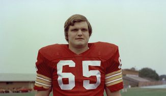 Defensive end Dave Butz (65) of the Washington Redskins is shown in this 1975 photo. Exact date and location are unknown. (AP Photo)