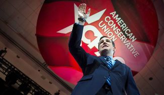 Sen. Ted Cruz, Texas Republican, sent a clear message to the rest of the field that he is still a favorite of the grass-roots activists who populate the country's largest annual conservative gathering, and signaled that he would fight to claim the conservative mantle in the presidential nomination race. (Rod Lamkey Jr./Special to The Washington Times)