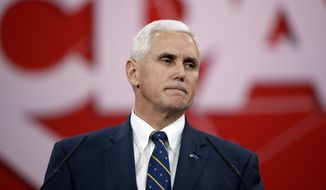 Indiana Gov. Mike Pence pauses while speaking at the Conservative Political Action Conference (CPAC) Friday, Feb. 27, 2015 in National Harbor, Md. (AP Photo/Alex Brandon)