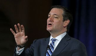 U.S. Sen. Ted Cruz (R-Tex) speaks at the winter meeting of the free market Club for Growth winter economic conference at the Breakers Hotel Friday, Feb. 27, 2015, in Palm Beach, Fla. (AP Photo/Joe Skipper)