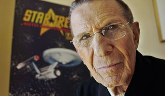 "Actor Leonard Nimoy poses for a photograph in Los Angeles on Aug. 9, 2006. Nimoy, famous for playing officer Mr. Spock in ""Star Trek,"" died Friday, Feb. 27, 2015 in Los Angeles of end-stage chronic obstructive pulmonary disease. He was 83. (Associated Press) **FILE**"