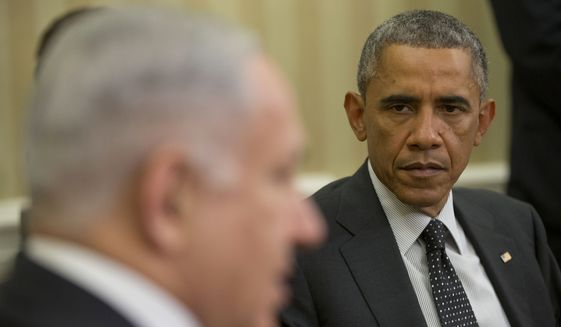 """Israeli Prime Minister Benjamin Netanyahu and President Obama both said reports about more distant relations in the past year were """"wrong."""" Mr. Netanyahu visited Mr. Obama in the Oval Office and talked with a group of reporters. (Associated Press)"""