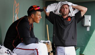 Baltimore Orioles' J.J. Hardy, right, and Manny Machado prepare to take batting practice before an intra-squad spring training baseball game at Ed Smith Stadium in Sarasota, Fla., Sunday, March 1, 2015. (AP Photo/Gene J. Puskar)