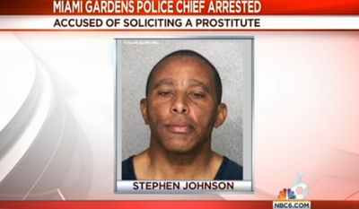 Miami Gardens Police Chief Stephen Johnson was fired after being arrested Friday for soliciting a prostitute, officials said. (NBC 6 South Florida)