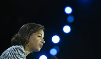 National Security Adviser Susan Rice addresses the 2015 American Israel Public Affairs Committee (AIPAC) Policy Conference in Washington, Monday, March 2, 2015. (AP Photo/Cliff Owen)