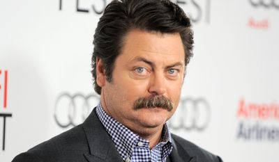 "In this Nov. 3, 2012 file photo, Nick Offerman arrives at the ""Holy Motors"" special screening as part of AFI Fest in Los Angeles. (Photo by Jordan Strauss/Invision/AP, File)"