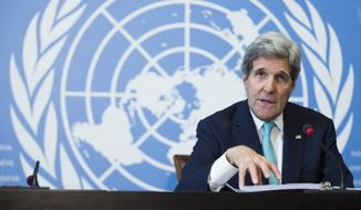 Secretary of State John Kerry gestures during a news conference after he delivered remarks to the United Nations Human Rights Council on Monday, March 2, 2015, in Geneva. Kerry discussed ongoing nuclear negotiations with Iran, and tensions with Russia over Ukraine. (AP Photo/Evan Vucci)
