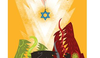 Iranian Nuclear threat Against Israel Illustration by Linas Garsys/The Washington Times