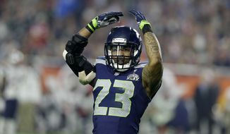 Seattle Seahawks strong safety Jeron Johnson during the second half of NFL Super Bowl XLIX football game Sunday, Feb. 1, 2015, in Glendale, Ariz. (AP Photo/Michael Conroy)']