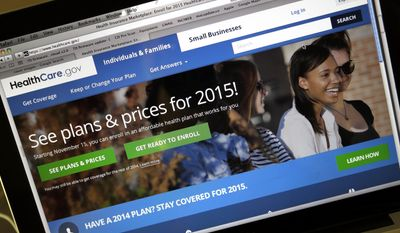 In this Nov. 12, 2014, file photo, the HealthCare.gov website, where people can buy health insurance, on a laptop screen, is seen in Portland, Ore. (AP Photo/Don Ryan, File)