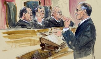 This courtroom artist rendering shows Solicitor General Donald Verrilli, speaking before the Supreme Court. (Associated Press/File)