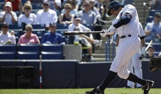New York Yankees' designated hitter Alex Rodriguez hits a single in the first inning during a spring training baseball exhibition game against the Philadelphia Phillies, Wednesday, March 4, 2015, in Tampa, Fla. (AP Photo/Lynne Sladky)