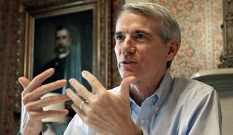 ONE AND DONE? From left: Sens. Patrick J. Toomey of Pennsylvania, Roy Blunt of Missouri and Rob Portman of Ohio are being targeted by the Democratic Senatorial Campaign Committee. The Republicans, who were part of the tea party wave in 2010 are considered vulnerable during a presidential election year. (Associated Press photographs)