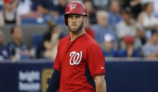 Washington Nationals' Bryce Harper walks off the field after striking out in the third inning of an exhibition spring training baseball game against the New York Mets, Thursday, March 5, 2015, in Viera, Fla. (AP Photo/David Goldman)