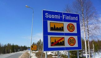 A road sign reminding the Russians of the Finnish speed limits, on the regional road 866 on the Finnish/Russian border just south of Kuusamo. Finnish authorities recently looked up a millionaire's 2013 tax return before reportedly issuing him a $60,000 traffic citation for speeding. (Wikimedia Commons/Timo Newton-Syms)