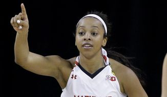 Maryland guard Lexie Brown points after scoring a basket during the first half of an NCAA college basketball game against Michigan State in the quarterfinals of the Big Ten Conference tournament in Hoffman Estates, Ill., on Friday, March 6, 2015. (AP Photo/Nam Y. Huh)