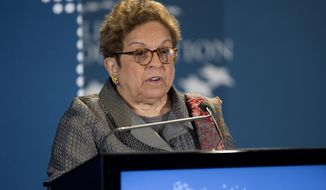 FILE - In this Dec. 11, 2014, file photo, University of Miami President Donna Shalala makes introductions before former President Bill Clinton brings leaders from across the hemisphere, together for a discussion on the future of the Americas, in Coral Gables, Fla. Shalala has been tapped to run the Clinton Foundation as Hillary Rodham Clinton prepares for her expected 2016 presidential campaign and the philanthropy faces scrutiny of its fundraising practices. Bill Clinton said March 6, 2015, that he had chosen Shalala to serve as the next president and chief executive officer of the sprawling philanthropy.  (AP Photo/J Pat Carter, File)