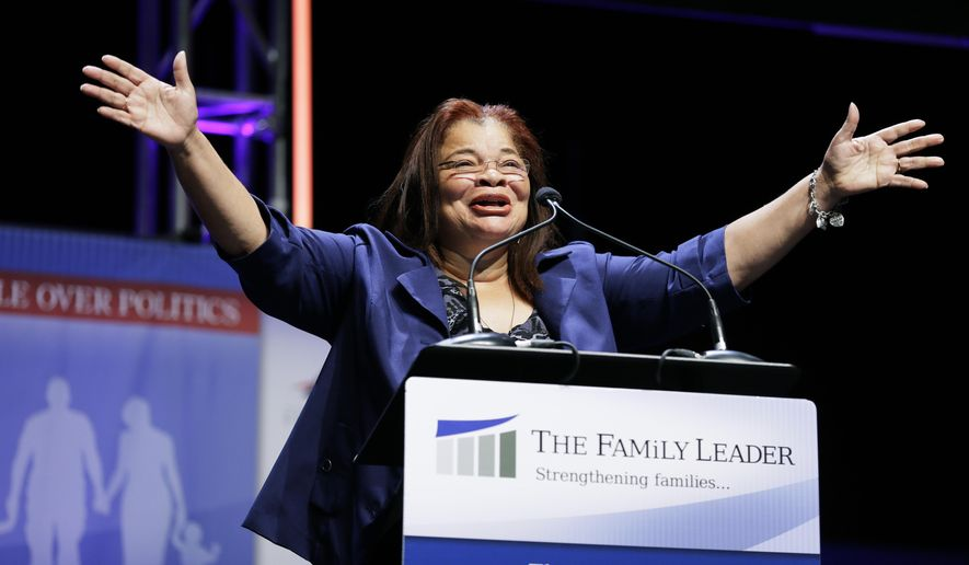 In this Aug. 9, 2014 file photo, Dr. Alveda King, niece of Dr. Martin Luther Kings, speaks during The Family Leadership Summit in Ames, Iowa. Fox News Channel says it has hired Alveda King, a niece of the late civil rights leader Martin Luther King Jr., as a commentator for the network. (AP Photo/Charlie Neibergall, File)