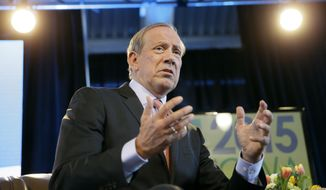 Former New York Gov. George Pataki speaks during the Iowa Agriculture Summit, Saturday, March 7, 2015, in Des Moines, Iowa. (AP Photo/Charlie Neibergall)