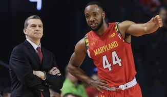 Maryland coach Mark Turgeon, left, and Maryland's Dez Wells (44) talk on the sideline during the first half of an NCAA college basketball game against Nebraska in Lincoln, Neb., Sunday, March 8, 2015. (AP Photo/Nati Harnik)